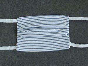 Mondkapje mondmasker grof gestreept blauw voorkant