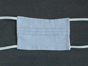 Mondkapje mondmasker fijn gestreept blauw voorkant