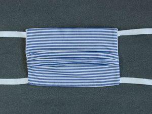 Mondkapje mondmasker blauw wit streepje voorkant