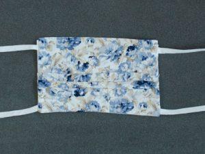 Mondkapje mondmasker beige blauw gebloemd voorkant