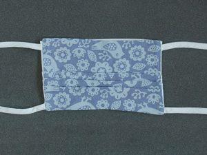 Mondkapje mondmasker grijs blauw vogeltje voorkant