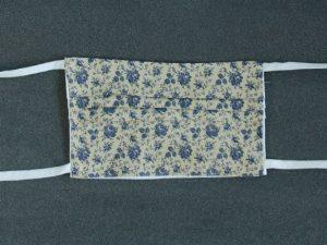 Mondkapje mondmasker blauw roosje voorkant