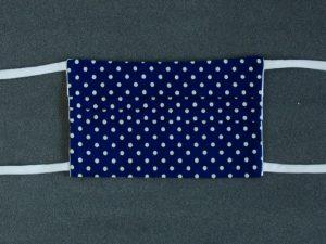 Mondkapje mondmasker blauw wit stip voorkant