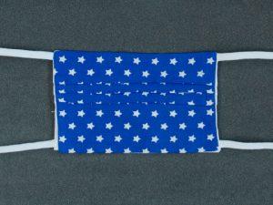 Mondkapje mondmasker blauw met ster voorkant
