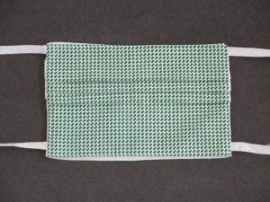 Mondkapje mondmasker blokjes groen (voorkant)